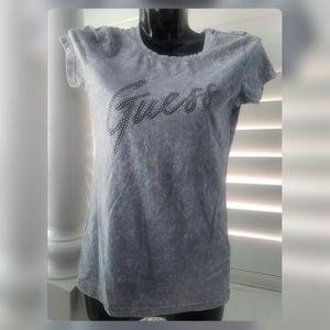 Guess Tops - GUESS Gray Tie Dye Stud Logo Tshirt Top
